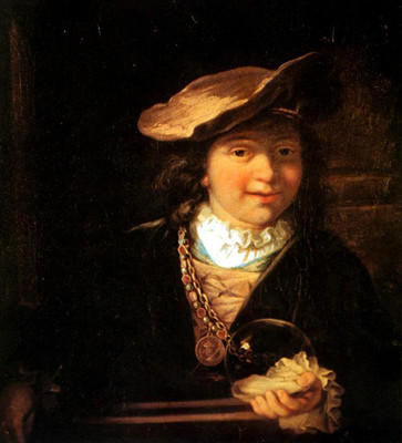 """Reproduction du tableau """"L'enfant à la bulle de savon"""" de Rembrandt"""