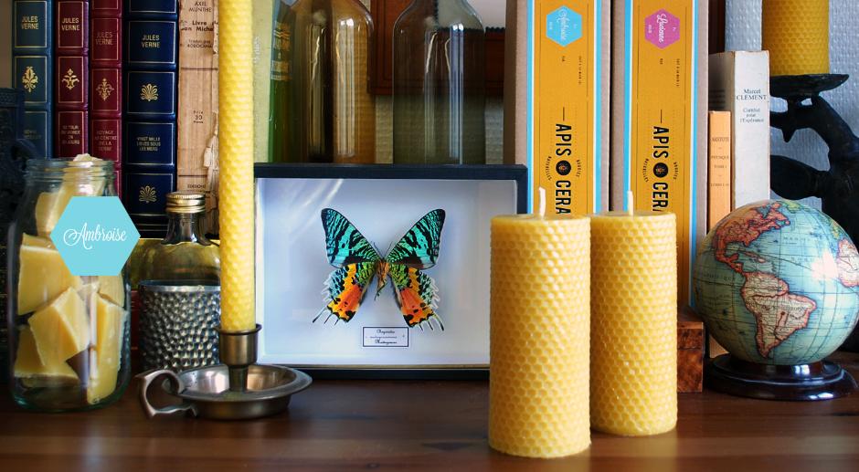 Bougies bio 100% cire d'abeille – fait à la main