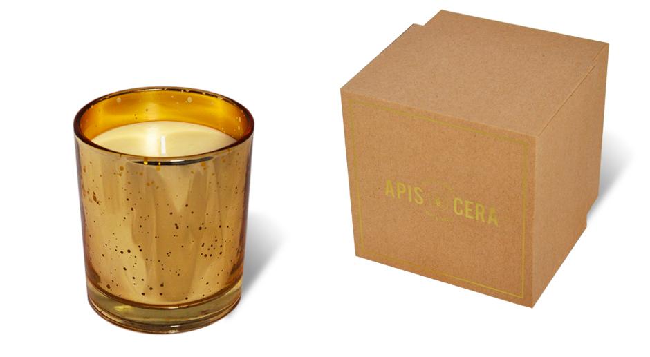 bougie naturelle ambre et or faustine. Black Bedroom Furniture Sets. Home Design Ideas