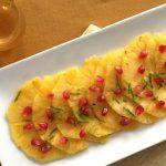 Carpaccio d'ananas au sirop de miel et au citron vert