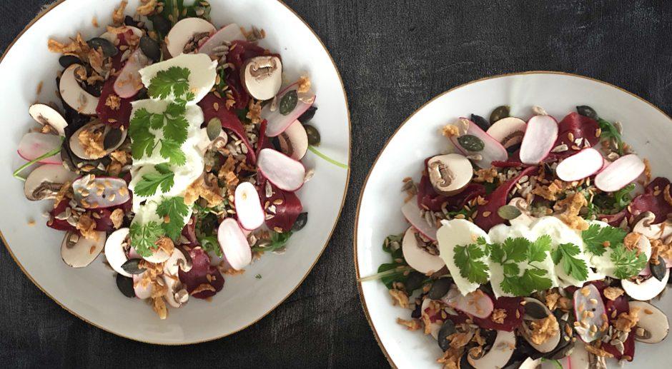 Salade quinoa-boulgour, magret de canard, vinaigrette miel-agrumes