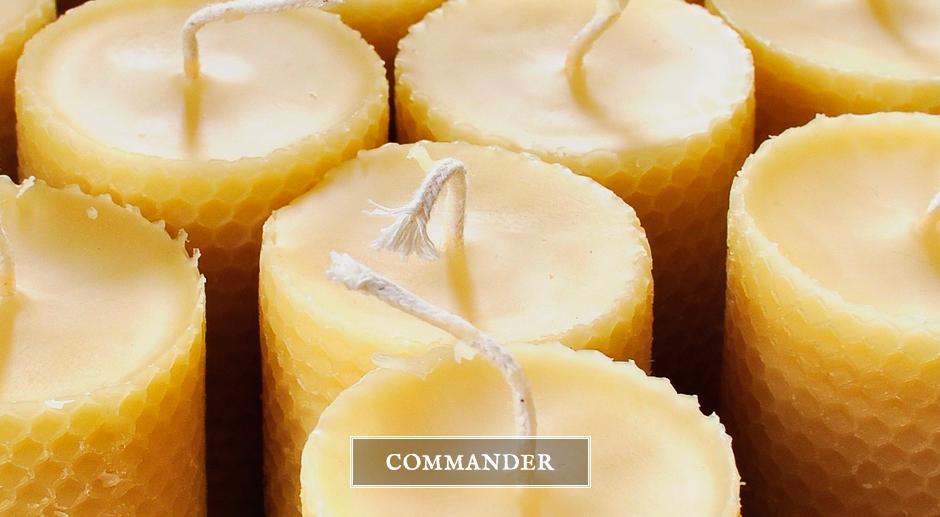 Bougies piliers en pure cire d'abeille - Apis Cera