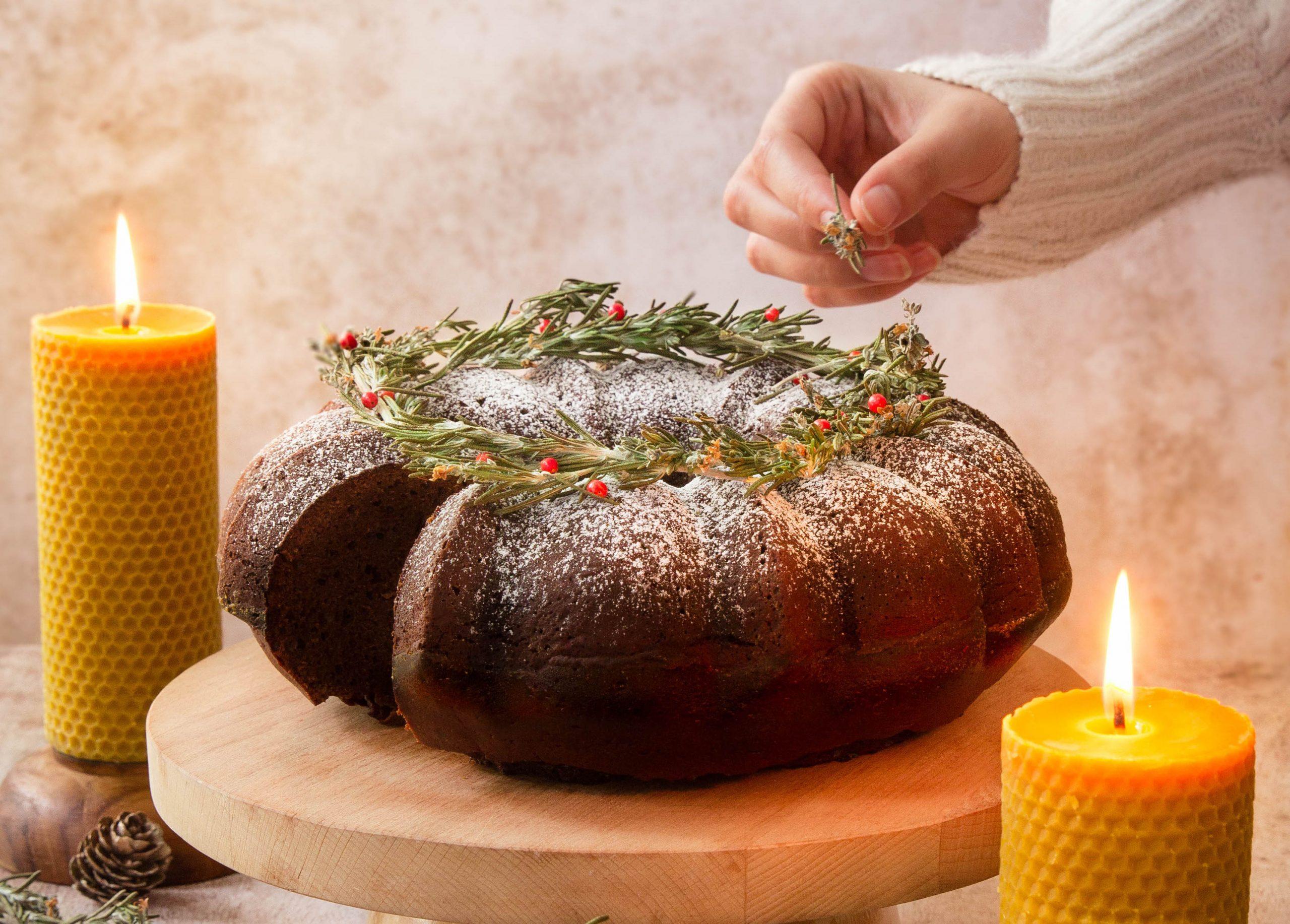 Bundt cake miel et chocolat de Noël